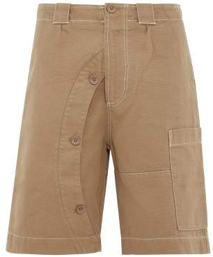 Jacquemus Meunier Buttoned Cotton Canvas Shorts - Mens - Beige