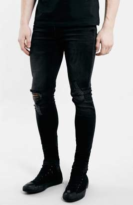 Topman Ripped Spray On Skinny Jeans