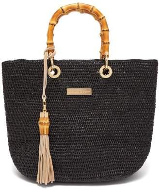 Heidi Klein Savannah Bay Mini Bamboo Handle Raffia Bag - Womens - Black