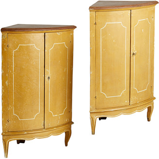 Rejuvenation Pair of Italian Corner Cabinets in Original Paint