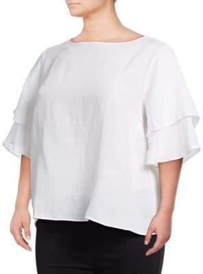 ca70733775c Lord   Taylor Plus Kamila Linen Flutter Sleeve Top