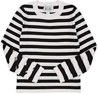 Autumn Cashmere Kids' Striped Cotton-Cashmere Cutout-Sleeve Sweater