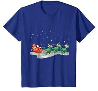 Santa Claus with Three Dinosaur T-Shirt Santa Dinosaur Xmas