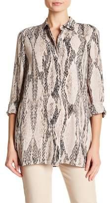 Ellen Tracy Snake Print Boyfriend Shirt