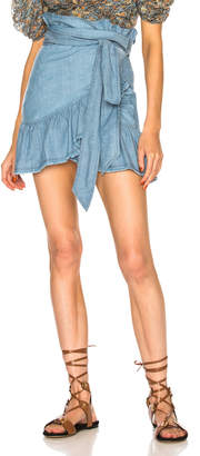 Etoile Isabel Marant Linday Chambray Ruffle Trim Mini Skirt