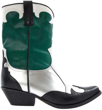 Emporio Armani Green Leather Boots