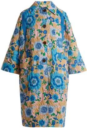 Marni Point-collar Waikiki-print cloqué coat