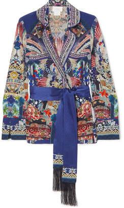 Camilla Darling's Destiny Embellished Printed Silk Crepe De Chine Jacket - Blue