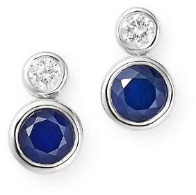 Bloomingdale's Blue Sapphire & Diamond Bezel Set Drop Earrings in 14K White Gold - 100% Exclusive