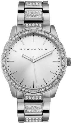 Sean John Men Dress Sport 3 Hands Silver-tone Base Metal Bracelet Watch 46mm