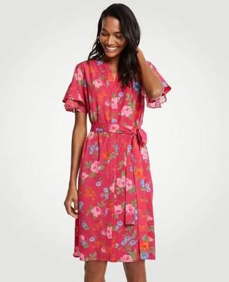Ann Taylor Petite Island Floral Flutter Sleeve Shirtdress