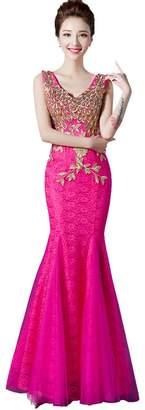 Beauty-Emily Sleeveless Maxi Rhinestone Lace Embroidery Long Mermaid Christmas Wedding Evening Party Dresses Color ,Size