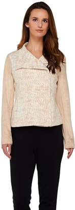 Halston H By H by Asymmetric Zip Motorcycle Jacket w/ Faux Suede Sleeves