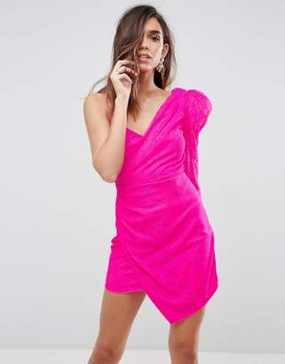 Asos Lace Shoulder Pad One Shoulder Sleeve Mini Dress