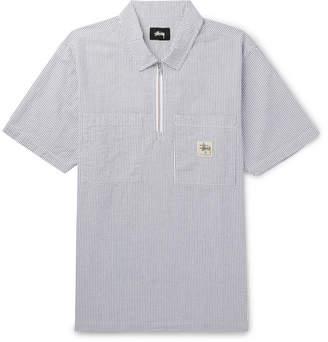 Stussy Striped Cotton-Seersucker Half-Zip Shirt