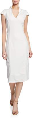 Alexia Admor French Design Stand-Up Collar Scuba Midi Sheath Dress