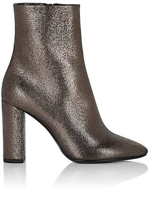 Saint Laurent Women's Lou Leather Ankle Boots - Dark Gray