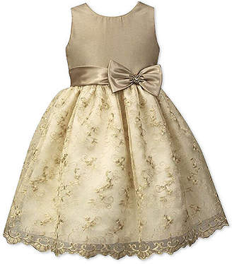 Jayne Copeland Toddler Girls Beaded Embroidered Champagne Party Dress