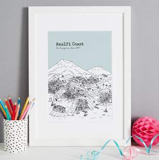 Amalfi by Rangoni Tessa Galloway Illustration Personalised Coast Print