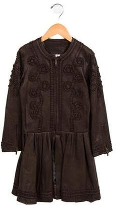 Bonnie Young Girls' Leather Embroidered Jacket