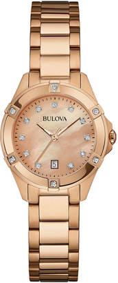 Bulova 28mm Rose Golden Bracelet Watch w/ Diamonds