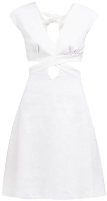 Ephemera - Cut Out Front And Back Linen Mini Dress - Womens - Ivory