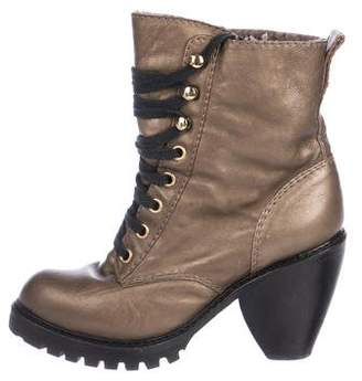 Marc Jacobs Metallic Leather Shearling-Lined Boots