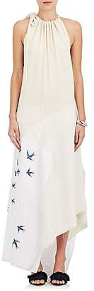 J.W.Anderson WOMEN'S EMBROIDERED PATCHWORK HALTER DRESS - OFF WHITE SIZE 6 UK