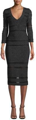 Herve Leger 3/4-Sleeve Shimmered V-Neck Dress