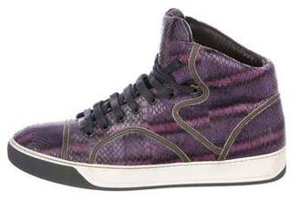 Lanvin Snakeskin High-Top Sneakers