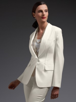 Wool sateen tuxedo jacket