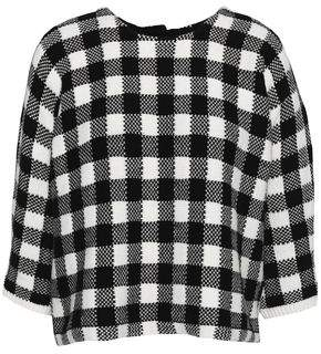 Maje Gingham Jacquard-Knit Cotton-Blend Sweater