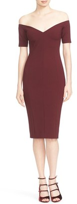 Cinq à Sept 'Jolie' Off the Shoulder Sheath Dress $385 thestylecure.com
