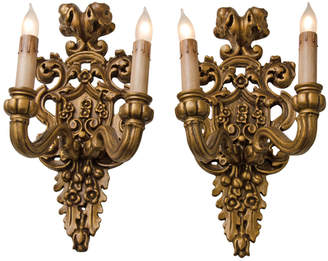 Rejuvenation Pair of Carved Classical Revival Candle Sconces