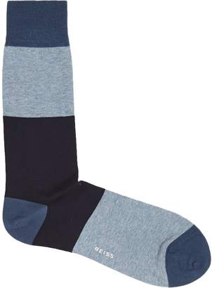 Reiss CLUSTER COLOUR BLOCKED SOCKS Blue