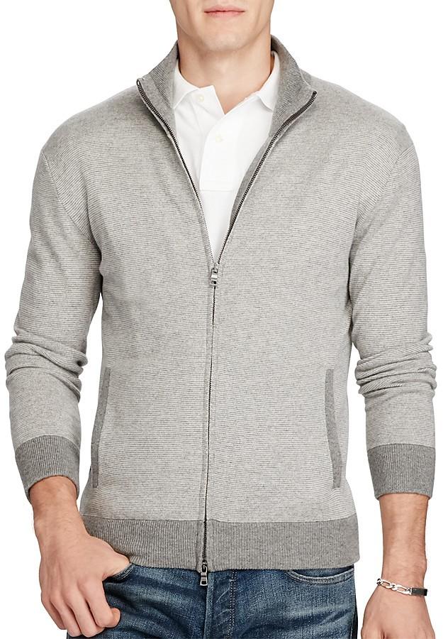 Polo Ralph LaurenPolo Ralph Lauren Merino Wool Striped Zip Cardigan Sweater