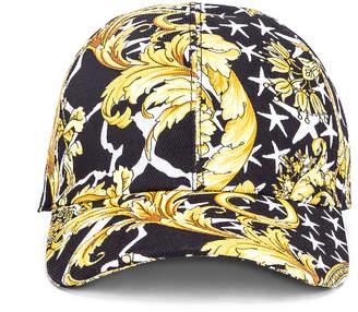Versace Print Baseball Hat in Black & Gold   FWRD
