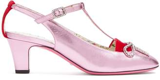 Gucci Anita crystal-bow embellished T-bar leather pumps