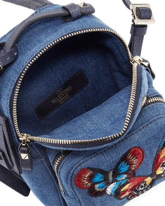 Valentino Camu Butterfly Denim Backpack