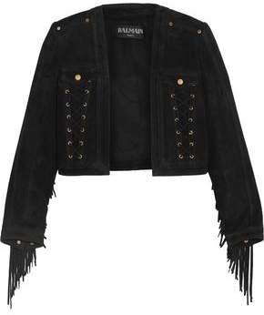 Balmain Cropped Lace-Up Fringe-Trimmed Suede Jacket