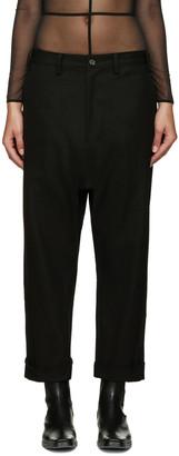 Yohji Yamamoto Black Roll-Up Trousers $830 thestylecure.com
