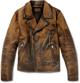 RRL Distressed Leather Biker Jacket