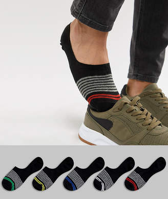 Asos DESIGN Invisible Liner Socks With Stripe Design 5 Pack