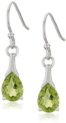 Sterling Silver Peridot Shepherd Hook Dangle Earrings