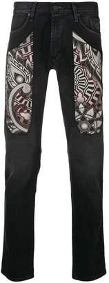 Jeckerson printed detail slim-fit jeans