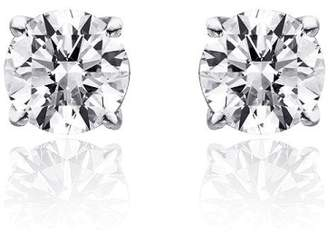 14K White Gold 0.75ct. Round Brilliant Cut Diamond Solitaire Stud Earrings