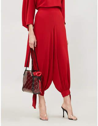 Stella McCartney Cuffed silk-crepe trousers