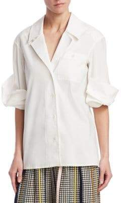 Rosie Assoulin Peek-a-Boo Cotton Blouse