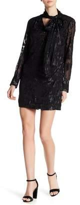 Rachel Roy Tie Neck Jacquard Chiffon Shift Dress