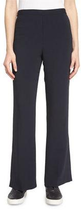 Helmut Lang Stretch Crepe Flare Pants, Navy $345 thestylecure.com